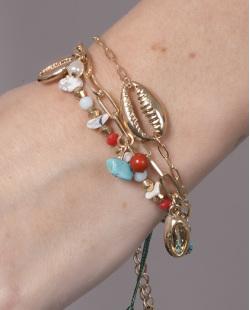 Kit 3 pulseiras de metal dourado com pedras azul e vermelha Anne