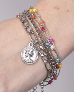 Kit 3 pulseiras de metal prateado com pedras coloridas Betty
