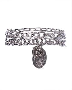 Kit 3 pulseiras de metal prateado Carla