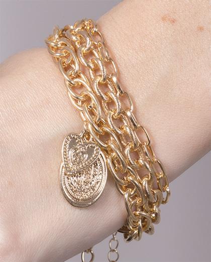 Kit 3 pulseiras de metal dourado Carla