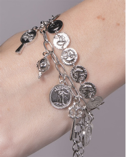 Kit 2 pulseiras de metal prateado Camila
