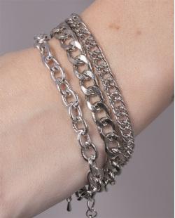 Kit 3 pulseiras de metal prateado Vanessa