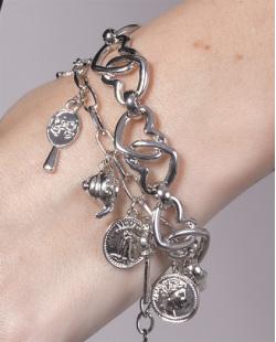 Kit 2 pulseiras de metal prateado Mirela