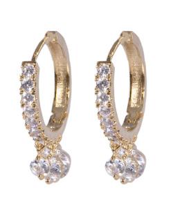 Argola de metal dourado com pedra cristal Mia