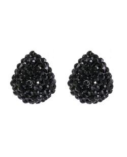 Brinco pequeno de metal preto com strass preto Glória