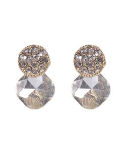 Brinco pequeno de metal dourado com pedra cristal Giuliana