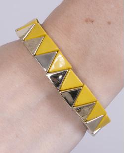 Pulseira de metal dourado com acrílico amarelo Cecília