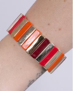 Pulseira de acrílico dourado, laranja e vermelho Clara