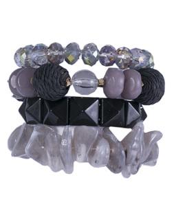 Kit 4 pulseiras de acrílico preto Catarina