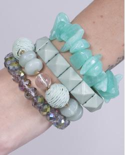 Kit 4 pulseiras de acrílico verde Catarina