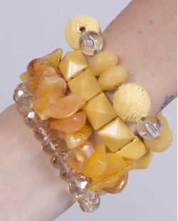 Kit 4 pulseiras de acrílico amarelo Catarina
