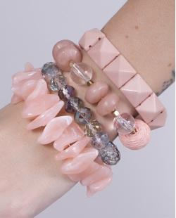 Kit 4 pulseiras de acrílico rosa Catarina