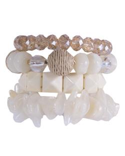 Kit 4 pulseiras de acrílico off white Catarina
