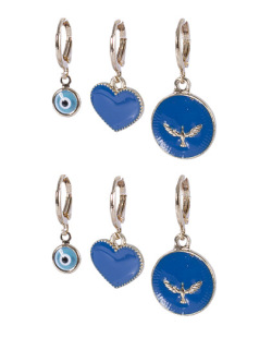 Kit 3 pares de argola dourada com azul Érica