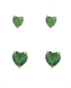 Kit 2 pares de brincos de metal dourado com pedra fusion verde Kamila