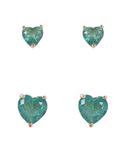 Kit 2 pares de brincos de metal dourado com pedra fusion turquesa Kamila