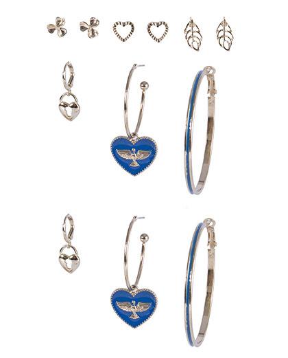 Kit 6 pares de brincos dourado com azul Karoline