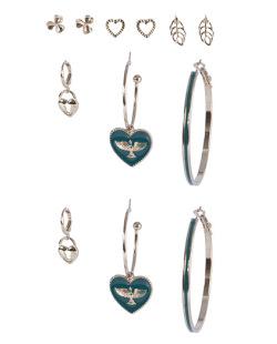 Kit 6 pares de brincos dourado com verde Karoline