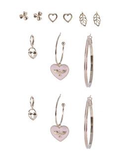 Kit 6 pares de brincos dourado com rosa Karoline