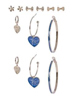 Kit 6 pares de brincos dourado com azul Keila