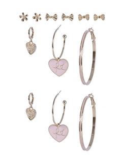 Kit 6 pares de brincos dourado com rosa Keila