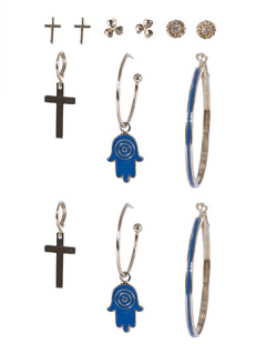 Kit 6 pares de brincos dourado com azul Kéfera