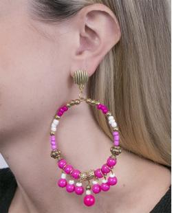 Maxi Brinco de metal dourado com pedra pink Felipa