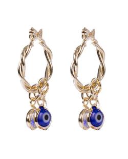 Argola de metal dourado com olho grego azul Soli