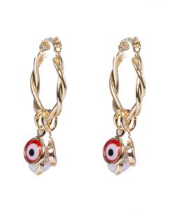 Argola de metal dourado com olho grego vermelho Soli