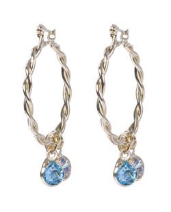 Argola de metal dourado com pedra azul Michele