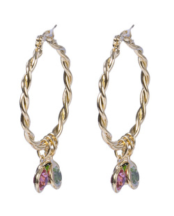 Argola de metal dourado com pedras verde, rosa e cristal Anne