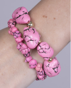 Kit 2 pulseiras de metal dourado com pedra rosa Queren