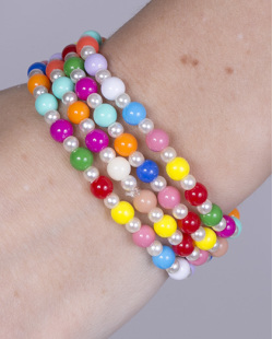 Kit 4 pulseiras de miçangas coloridas Queila