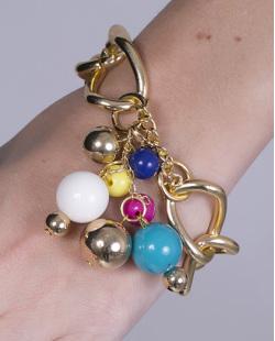 Pulseira de metal dourado com pedras coloridas Quimera