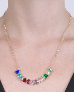 Colar de metal dourado com pedras coloridas Diana