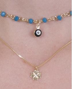Colar de metal dourado com pedra azul Donatella
