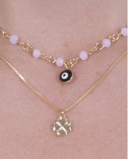 Colar de metal dourado com pedra rosa Donatella
