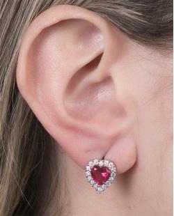 Brinco pequeno de metal prateado com pedra pink Eduarda