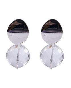 Maxi Brinco de metal prateado com pedra cristal Isadora