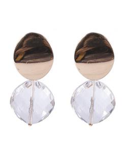 Maxi Brinco de metal dourado com pedra cristal Isadora