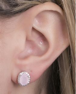 Brinco pequeno de metal prateado com pedra rosa Louise