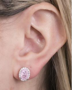 Brinco pequeno de metal prateado com pedra fusion rosa Louise
