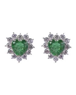 Brinco pequeno de metal prateado com pedra verde Laura