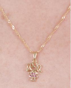 Colar folheado de metal dourado com strass rosa Lia