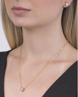Conjunto folheado de metal dourado com pedra cristal Fiorella
