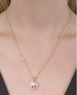 Conjunto folheado de metal dourado com strass cristal Franceline