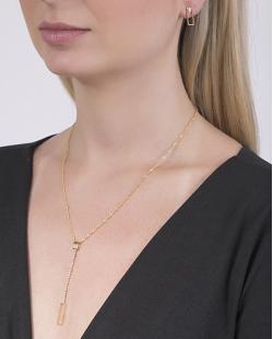 Conjunto folheado de metal dourado com strass cristal Frances