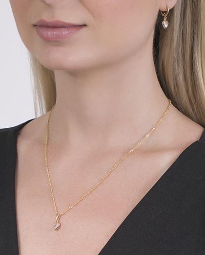 Conjunto folheado de metal dourado com pedra cristal Fabíola