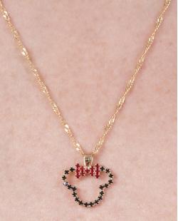 Conjunto folheado de metal dourado com strass preto e vermelho Minnie