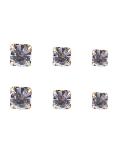 Kit 3 pares de brincos folheados de metal dourado com pedra cristal Isaura
